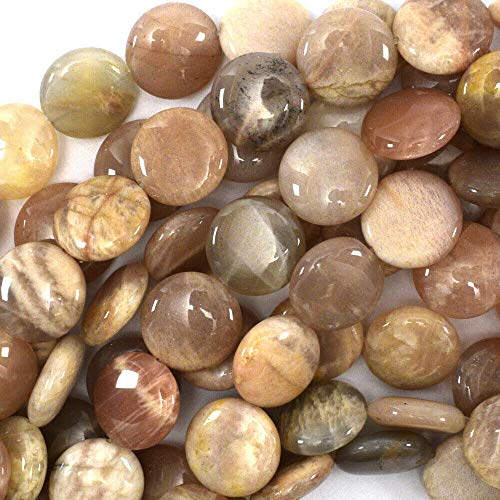 (14mm Natural Sunstone Coin Beads 15.5