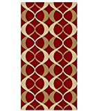 "ADGO Collection Contemporary Moroccan Mediterranean Trellis Lattice Design Rubber-Backed Non-Slip Non-Skid Living Dining Bedroom Area Rugs, Burgundy and Gold, 3'3"" x 4'7"" ..."