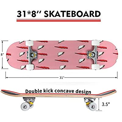 Classic Concave Skateboard Lightning Seamless Pattern Illustration Hand Drawn Sketched Doodle Longboard Maple Deck Extreme Sports and Outdoors Double Kick Trick for Beginners and Professionals : Sports & Outdoors