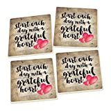 Start Each Day Script Red Heart Design Set of 4 Ceramic Coaster Pack