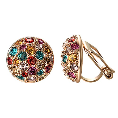 Colured CZ Crystal Half Ball Rounds Clip On Earrings For Women Girls Party Jewelry ()