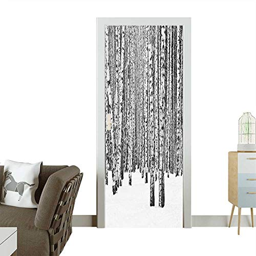 Door Sticker Birch Forest in Snow Winter Time Landscape Picture Accessories White and Removable Door Decal for Home DecorW23 x H70 -