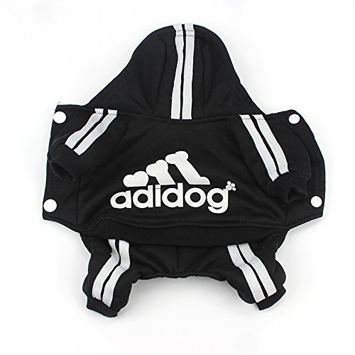 Image of Idepet(TM Adidog Pet Dog Cat Clothes 4 Legs Cotton Puppy Hoodies Coat Sweater Costumes Dog Jacket (S, Black)