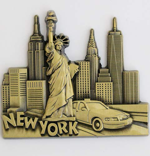 New York Metal Fridge Magnet Unique Design Home Kitchen Decorative Travel Holiday Souvenir Gift, Stick Up Your Lists Photos on Refrigerator (New York Magnet Refrigerator)