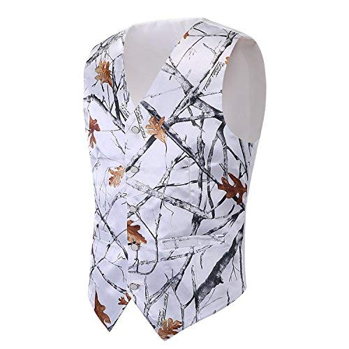 iLovewedding Mens Camouflage Vests Wedding Groom Camo Prom Vest (Large, White Camo) (Camouflage Mens Vest)