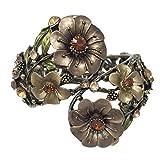Large Rhinestone Statement Flower Hinged Bangle Bracelet - Assorted Colors (Brown Gold Tone)