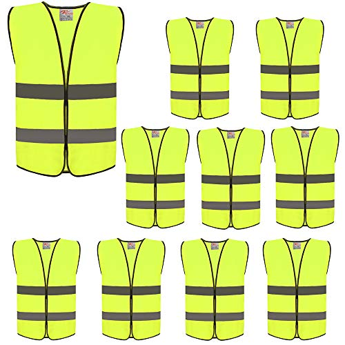 High Visibility Safety Vests,Adjustable Size,Lightweight Mesh Fabric, Wholesale Reflective Vest for cycling, skateboarding, or walking back to school -Fits for Boy and Girl (10 PACK, Kids-Neon Yellow)