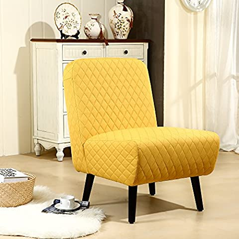 LSSBOUGHT Modern Muted Fabric Armless Chair Stylish Accent Chair (Yellow) (Yellow Room Chairs)