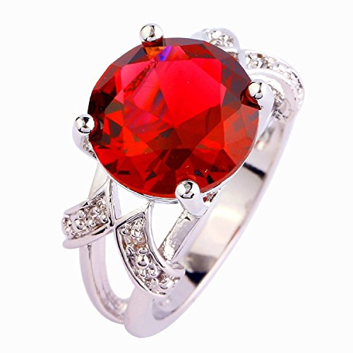 Narica Women's Brilliant 12mmx12mm Round Cut Red Ruby CZ Ring Band