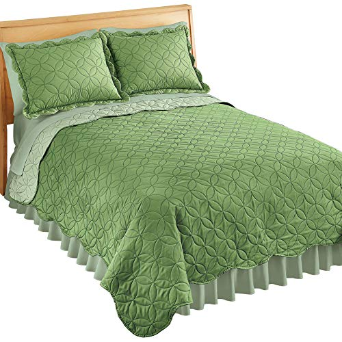 Collections Etc Reversible Two-Tone Quilt with Circular Design and Scalloped Edges, Sage, Twin ()