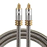 Optical Cables, EMK YL-A 1m OD8.0mm Gold Plated Metal Head Toslink Male to Male Digital Optical Audio Cable