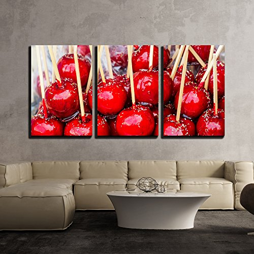 Sweet Glazed Red Toffee Candy Apples on Sticks for Sale on Farmer Market or Country Fair x3 Panels