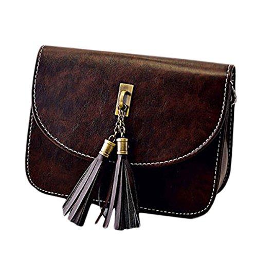 Millya bolso Mini bolso bandolera para mujer Retro borla bolsa móvil bolso Crossbody bolso marrón oscuro