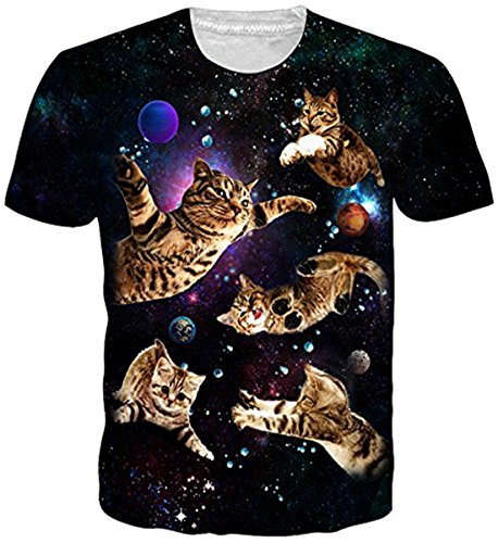 Belovecol Fashion Sports Kitty Cats T Shirts for Juniors Short Sleeve Crewneck Novelty Space Graphic Tee Shirts Tops M ()