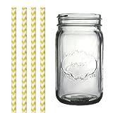 Dress My Cupcake DMC34954 Clear Vintage Jardin Mason Jar with Yellow Chevron Straws, 32-Ounce