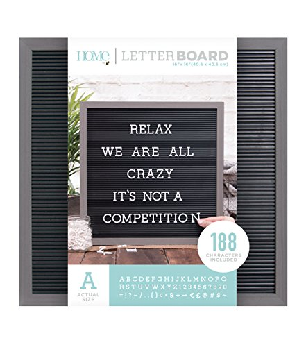 - American Crafts 16 x 16 Inch Gray Frame with Black Die Cuts with a View Letterboards, 16 x 16