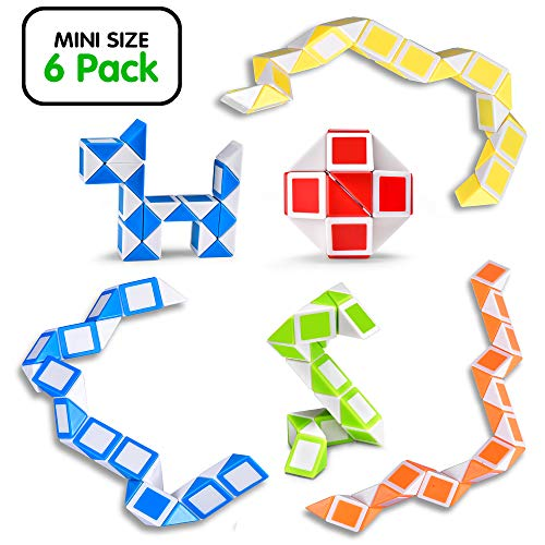 Ganowo Magic Snake Cube Mini 6 Pack-24 Blocks Twist Puzzle Collection Brain Teaser Toy Snake Ruler Fidget Toys Sets for Kids Game ()