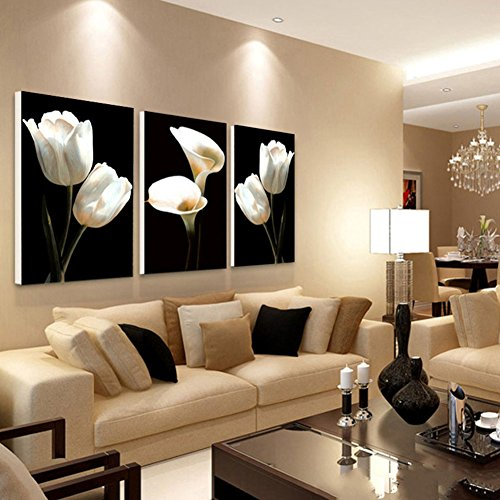 Decorative Image Printed On Non Woven Canvas, Modern Artwork Wall Art Print Picture 3 Panels White Tulip and Calla lily for Sofa Background Wall Decor ()