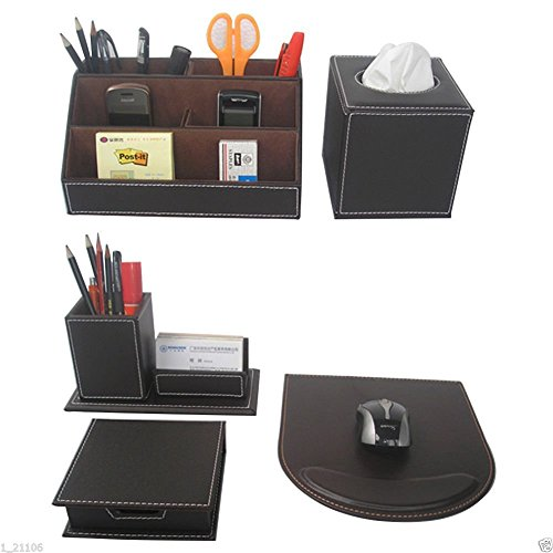 KINGFOM 5PCS/SET Office Accessories Desk Organizer Sets Leatherette Supplies, Tissue Holder, Mouse Pad, Note Papers Holder, Pencil Holders, Multipurpose Storage Box Brown