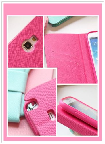 Bow Fashion Wallet Flip Feature with Credit/id Card Slots/holder&strap PU Leather Bling Case Cover For Samsung Apple Smart Mobile Phone (iPhone 4 4S, Pink(Mint Bow))