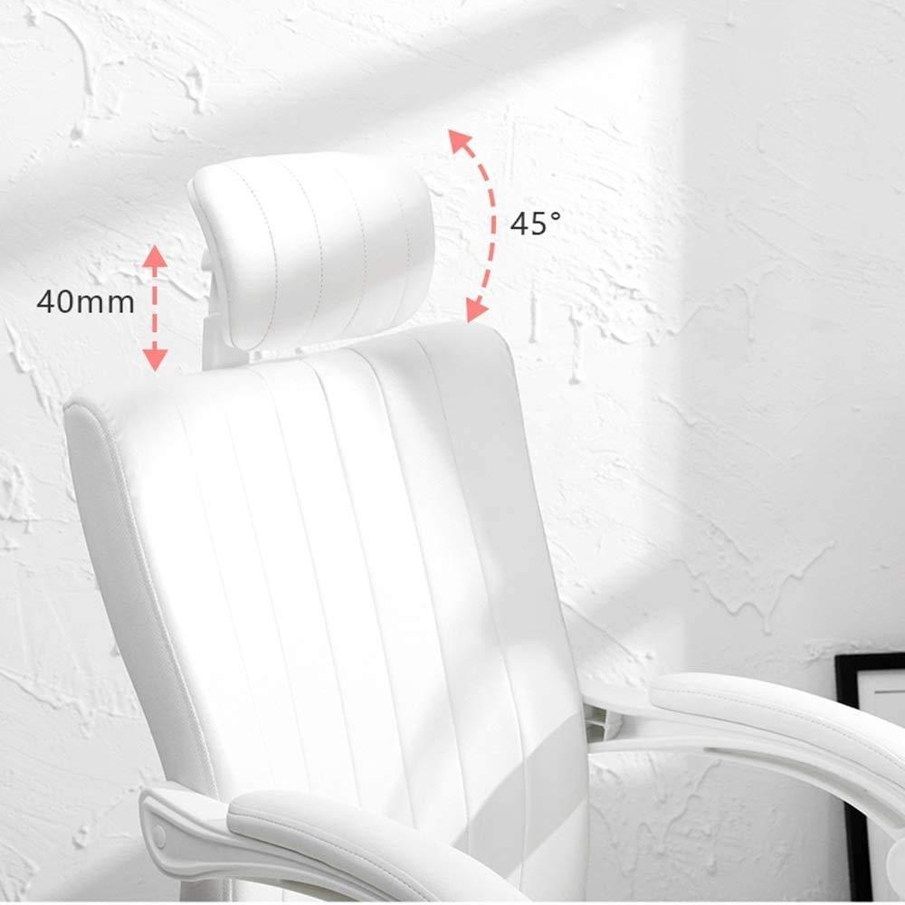 LQ kontorsstol med utdragbar fotstöd, multifunktionssvängbar stol [lyftfunktion/360° rotation/avslappning/oberoende nackstöd (färg: vit) Vitt