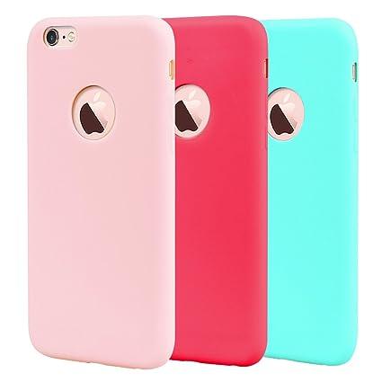 Leton 3X Funda iPhone 6s Silicona Suave Flexible TPU Carcasa Apple iPhone 6 Ultra Delgado Gel Tapa AntiChoque Candy Goma Cubierta Case Ultrafina Jalea ...