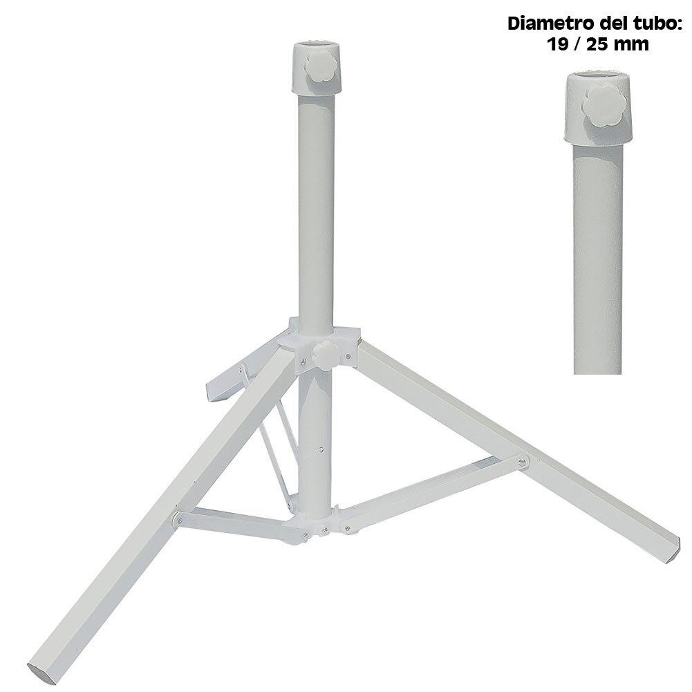 Bakaji Base Pieghevole per Ombrellone a Palo Centrale Stand Treppiede supporto in Metallo Colore Bianco Adatto per Ombrelloni di 19/25 mm Dimensioni Aperto 47 x 54 x 45 cm