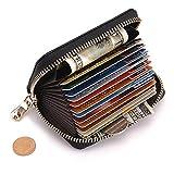 Women's Genuine Leather RFID Secure Spacious Cute Zipper Card Wallet Small Purse (Black)