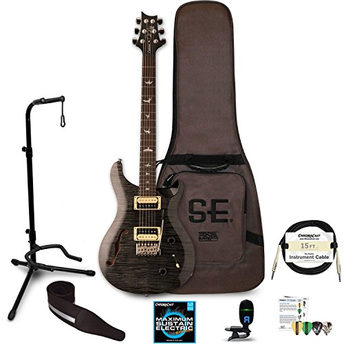 PRS 6 String Semi-Hollow-Body Electric Guitar Right Handed, Gray Black CU2SHGB-KIT-1