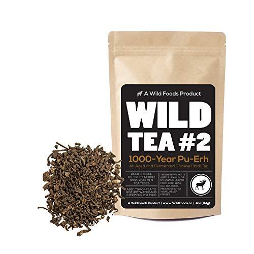 Natural Pu-erh Black Tea, Wild Reserve 1000-year Pu-Erh, Aged 12 months min, Wild Foods (4 ounce)