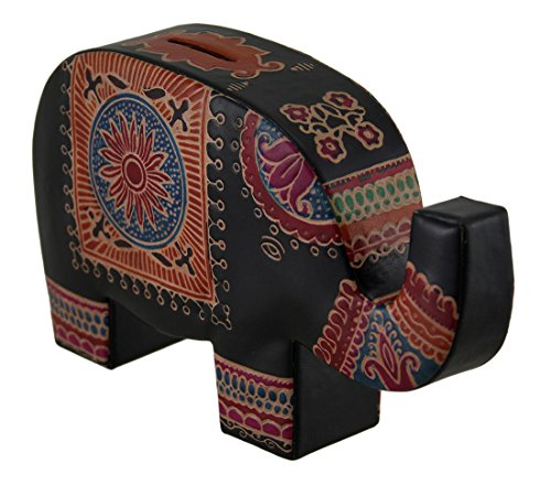 Colorful Elephant Trunk Up Embossed Leather Coin Bank Piggy Bank Leather Toy Banks Black