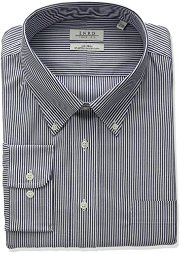 - Enro Men's Classic Fit Bengal Stripe Dress Shirt, British Navy, 18