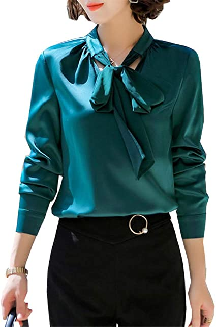 Spring Women Bell Long Sleeve Bow Tie Neck Business Office Work Shirt Blouse Top