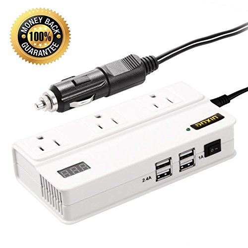 Universal Travel Power Converter Adapter 200W DC 12V to 220V AC Inverter 4 USB 3 Outlet Car Power Converter - To Singapore Ship Amazon