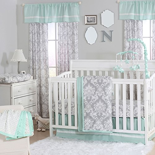 - Grey Damask and Mint Green 4 Piece Baby Crib Bedding Set by The Peanut Shell