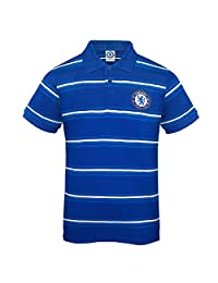 Chelsea FC Official Soccer Gift Mens Striped Polo Shirt Royal Blue Large