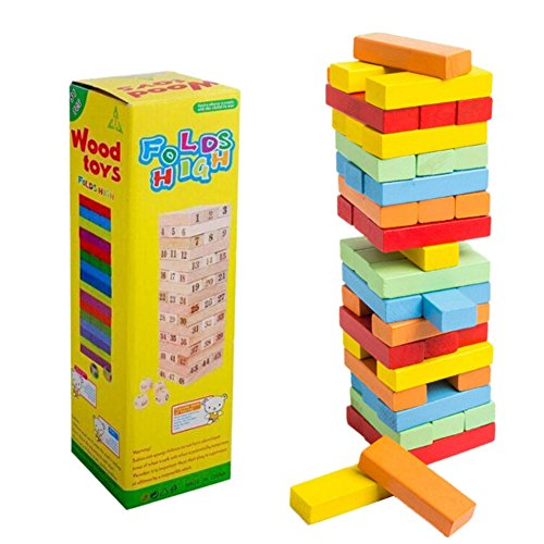 Novobey Stacking Board Games Building Blocks 48Pcs Wooden Large Digital Board Game Stacks Educational Toys For Kids (Colorful) by Novobey