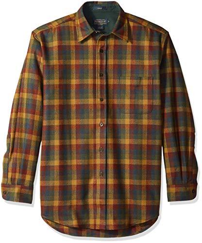 Pendleton Men's Long Sleeve Button Front Classic Lodge Shirt, Rust/Green Mini Check, LG