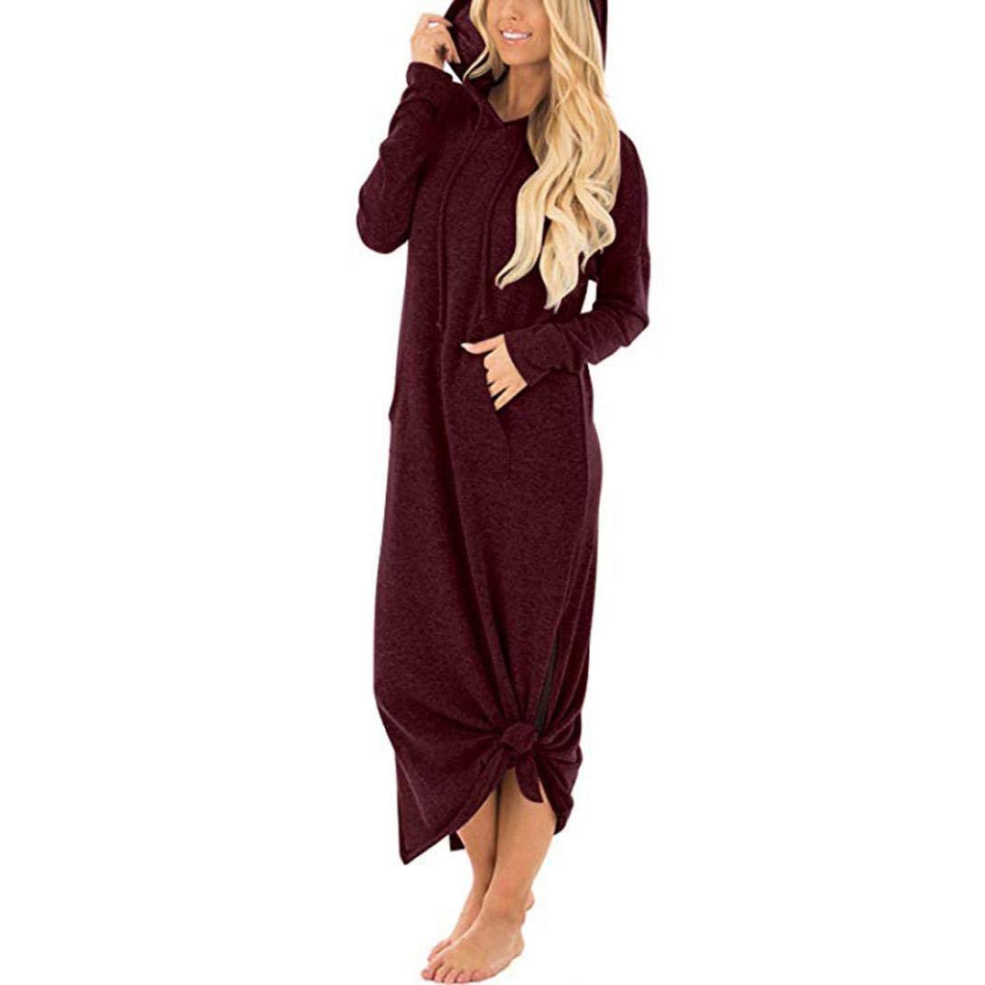 Vibola Dress for Women, Casual Pockets Dresses Split Hooded Long Maxi Dress (L, Wine)