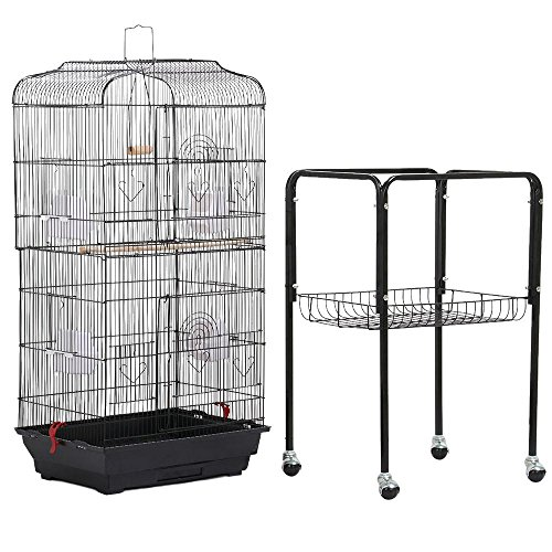 Yaheetech 59.3'' Rolling Bird Cage Parrot Finch Aviary Pet Perch w/Stand Black
