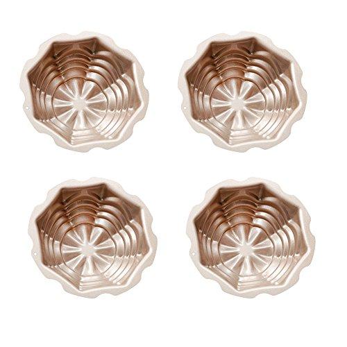 QELEG 4 Set Pan Shape Mini Bakeware Cake Pan Non-Stick Mold Cake Pan Kitchen Cooking Baking Tool-4.4×4.4×1.57 INCH