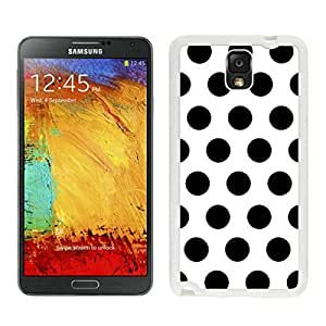 Unique Samsung Galaxy Note 3 Case Polka Dot White and Black Durable Soft Silicone White Phone Cover Speck