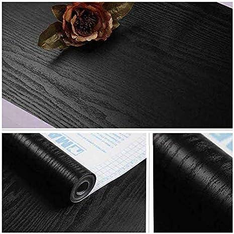Papel de vinilo con textura de madera de grano blanco y negro mate 23.6X117 TJLMCORP blanco
