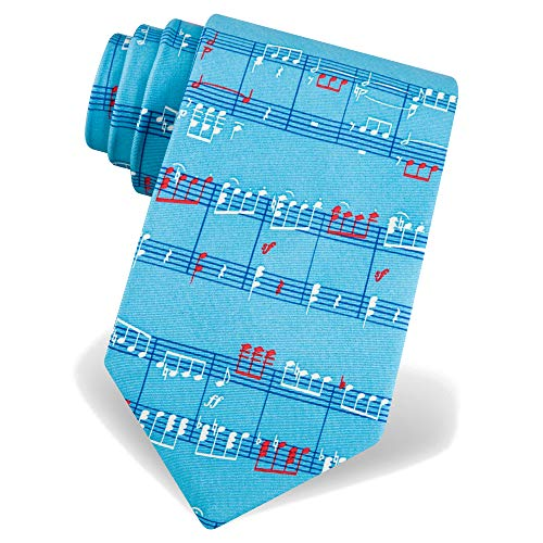 Men's 100% Silk Light Blue Music Notes Musician Novelty Tie Necktie