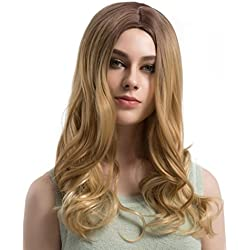 Certainer Hair Wigs Long Loose Wavy No Lace Front Curly Hair Wig Synthetic Natural Hairpiece For Women Heat Resistant Fiber Hair (B)