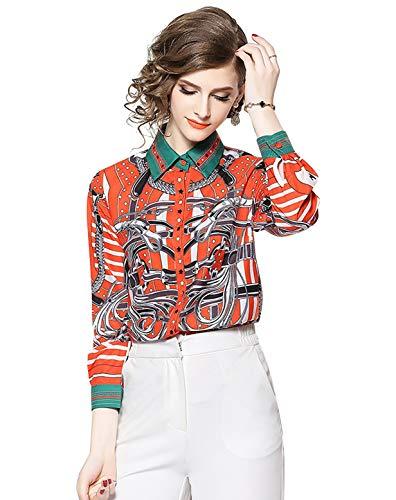 Women's Paisley Print Shirt Regular Fit Long Sleeve Button up Casual Blouse Top ()