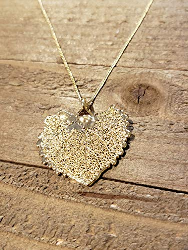 24k Gold Dipped Real Cottonwood Leaf Necklace Pendant Outdoor Nature Jewelry - Cottonwood Gold 24k Leaf