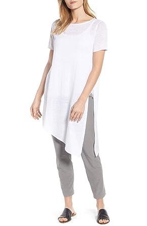 Eileen Fisher White Organic Linen Knit Bateau Neck Long Tunic Size M ... 3198335d7