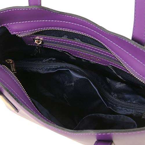 pelle Misura piccola Ruga Viola Viola Borsa TL141521 Tuscany Leather Olimpia shopper in w6gBBfX