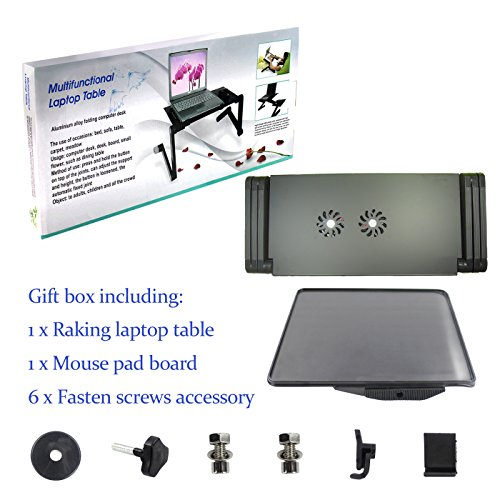Raking Laptop Table/Desk/Stand Portable Folding Table-in Bed,Sofa,Carpet Tray Book Stand with CPU FAN Cooling Pad,Notebook Macbook Ergonomic TV Bed Lap Tray Stand Up Sitting(Black) by Raking (Image #6)